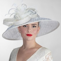 White Navy Large Fascinator