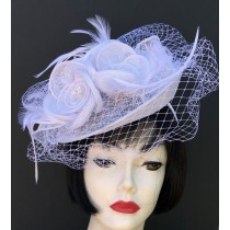 White Flower Net Fascinator