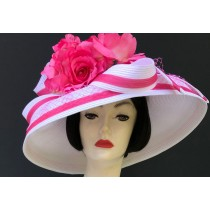 White Pink Dress Derby Hat