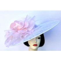 White Pale Pink Large Fascinator