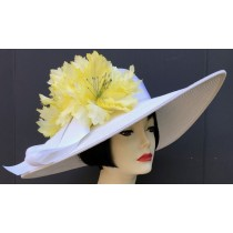 White Yellow Flower Derby Hat