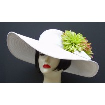 "White 6"" Brim/Lime,Fuchsia Flower"