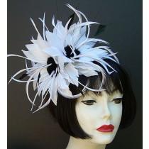 White Black Feather Fascinator