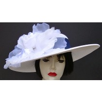 "White 5"" Brim/Navy/White Rose"
