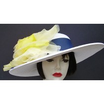 "White 5"" Brim/Navy/Yellow Rose"