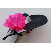 "Black 5""-6"" Brim/ Stripe/ Pink Poppy"