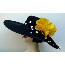Black 5-6 Brim Hat-Yellow Poppy