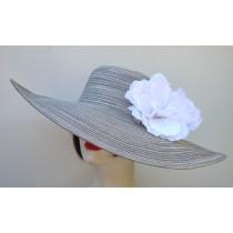 """Silver 6"""" Brim /White Hibiscus"""