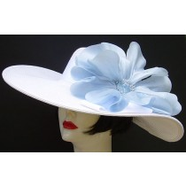 "White 5"",6"" or 8"" Brim/Light Blue Poppy"