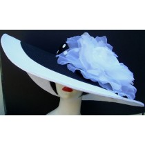"Black & White 8"" Brim / XL White Rose/ Dot Ribbon"