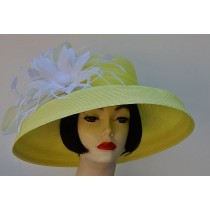 Yellow-White Large Dress Hat