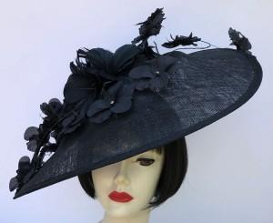 Black Large Fascinator - Black Trim