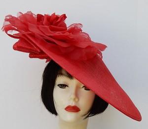 Red Profile Fascinator-Red Rose