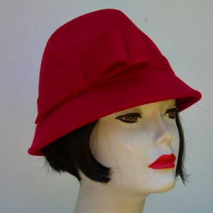 Red Wool Fedora/Side Bow