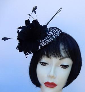 White Black Lace Fascinator