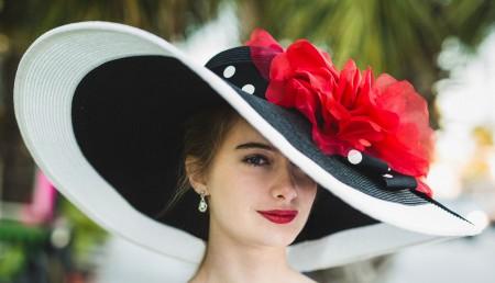 Black White 8 Derby Hat-Red Rose