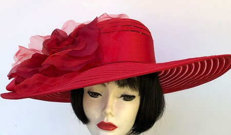 Red Large Brim Hat-Rose