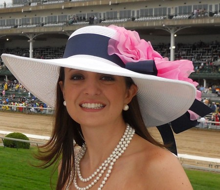 White Navy Pink Derby Hat