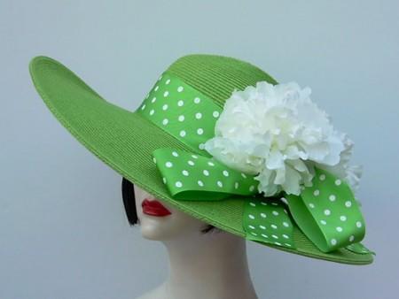 "Apple Green 5"" Brim /Dot/White"